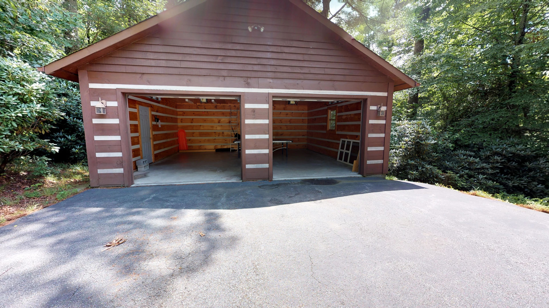 Detached 2 car garage services as the game room