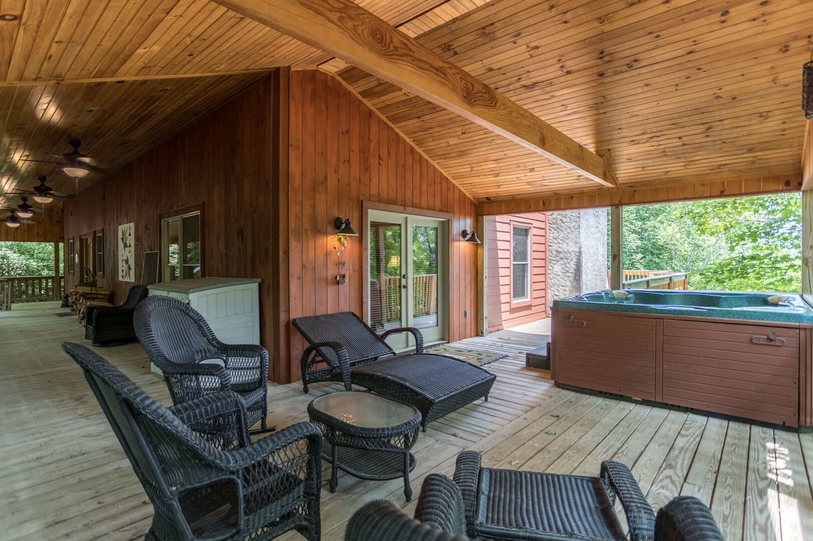 Plenty of seating on the deck outside to enjoy the cool mountain air