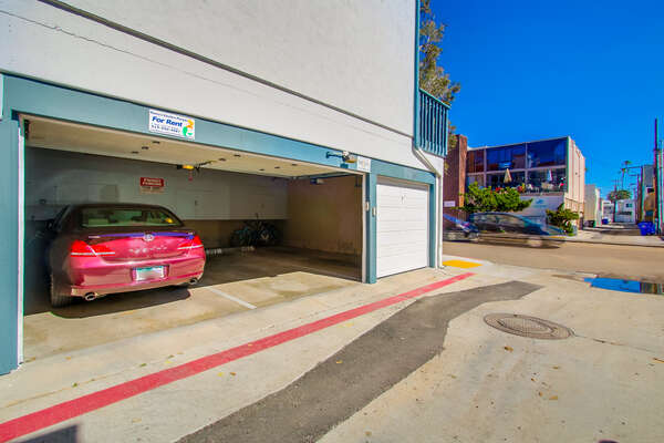shared garage, one designated parking spot
