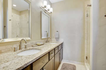 Master suite bathroom with double sinks.