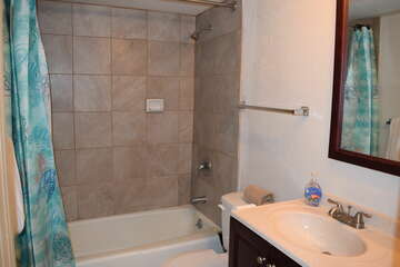 Shower/tub combination in bathroom