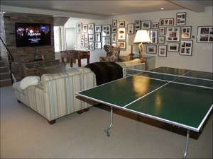 Family Room on lower level with Ping Pong Table, Foosball, large screen TV