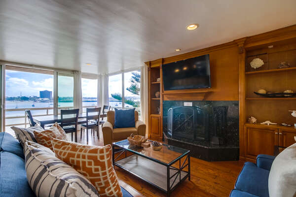 Comfortable living room with bay views