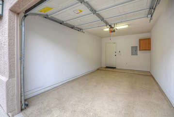 Attached garage is available for guests' vehicles, clubs and other recreational gear