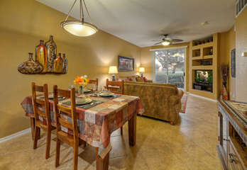 Stylish dining area between the great room and kitchen seats 4 when dining at home is preferred