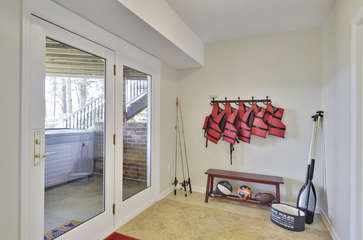 Lifejackets, dog toys, and paddles .. lower level