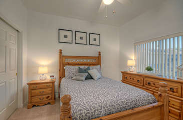 Second bedroom has queen bed and considerable drawer and closet space to unpack and feel at home