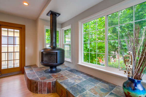 wood burning stove, 2nd level balcony off living/dining area