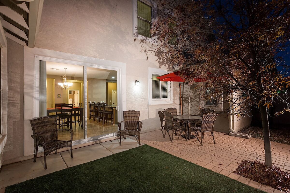 Outdoor seating and grill