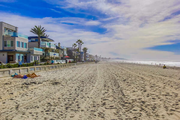 Mission Beach right outside this home