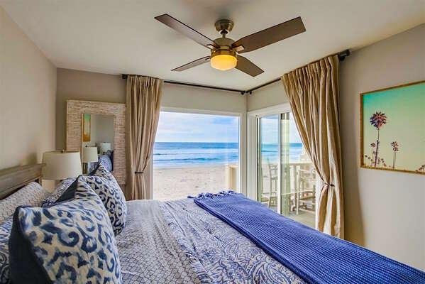 West bedroom with King bed, ocean views!