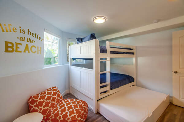 First floor bedroom, full over full bunk bed, twin trundle