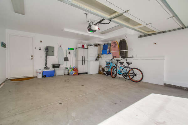 2- car garage (may only fit one larger vehicle)