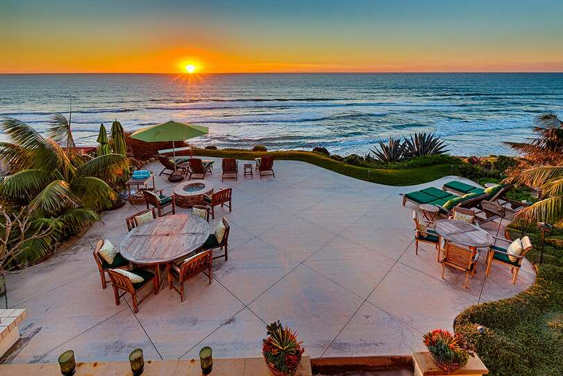 The expansive patio offers plenty of space for all