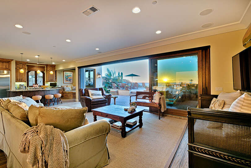 Comfortable seating with views of the big screen or ocean