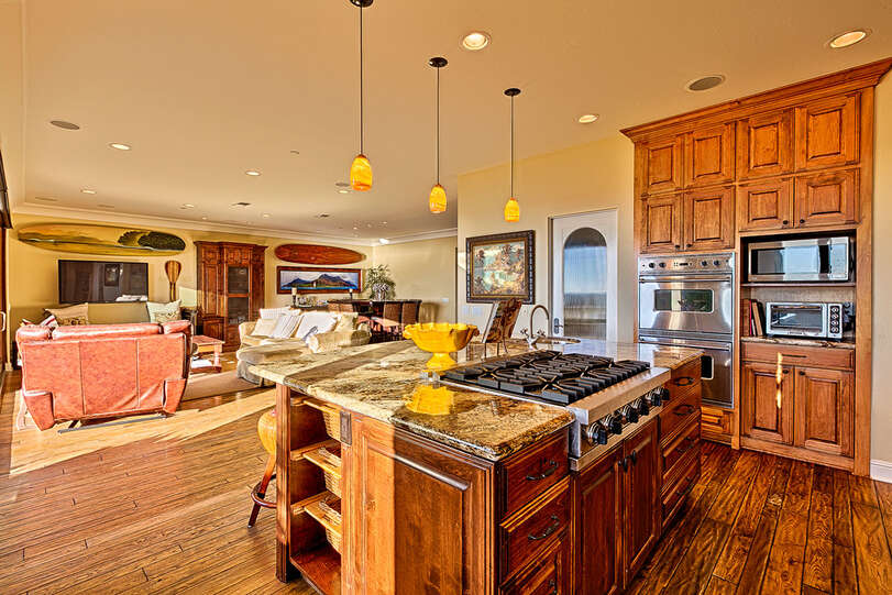 Beautiful cabinets accent the modern fittings in the kitchen