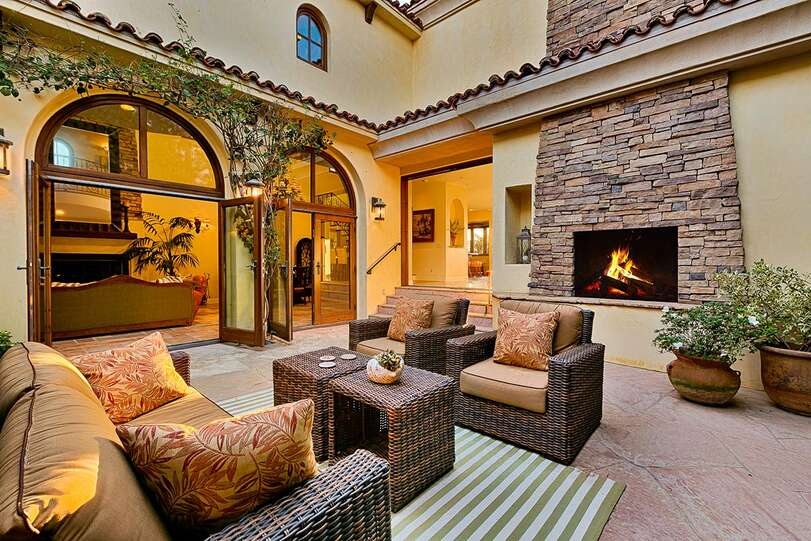 A fireplace and gas heater take away an evening chill