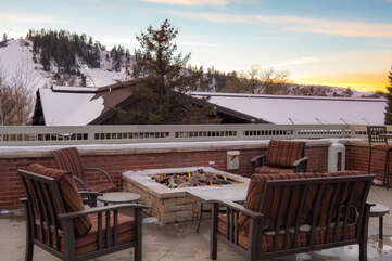 Enjoy the patios fire pit with premium views of Howelsen Hill