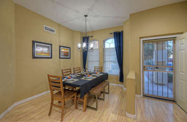 Formal dining area at front of home seats 6