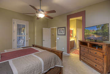 Large television for viewing pleasure in master suite