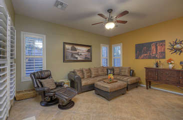 Family room is lovely gathering area for bonding time with friends and family