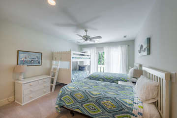 Third bedroom features two twin beds plus a set of twin bunks and en suite full bathroom.  The two twin beds can be put together to form another king bed.