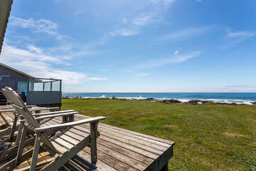 The sunny deck is the best place for whale watching.