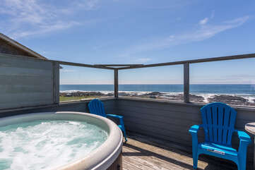 Relax and enjoy the incredible view from the private hot-tub!