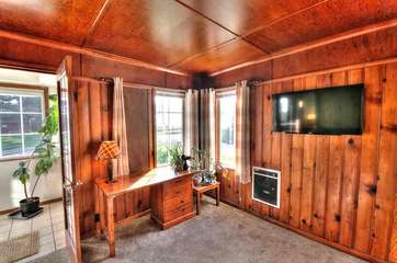 Rustic comfort and HDTV.