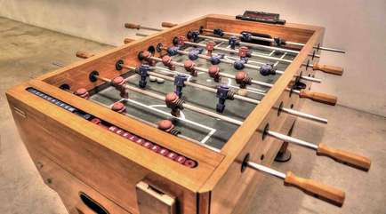 Foosball in the garage.