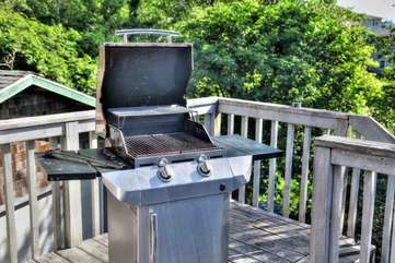 Gas Grill in the trees.