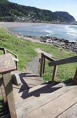 Take the 804 to these amazing stairs leading to the Yachats River outlet.