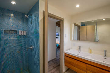 Fully remodeled modern master bath with custom walk-in shower.