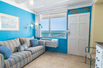 Bright and blue living area to make you feel at one with the ocean