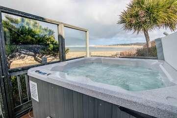 Sheltered hot tub.