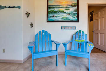 The Ocean Blue chairs greet you in the large entryway.