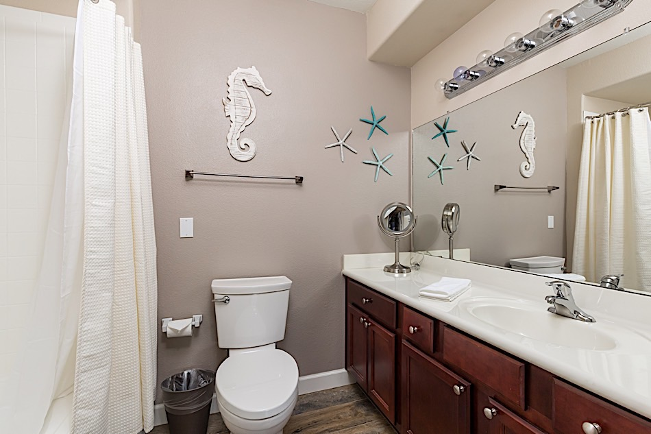 Master bathroom w/ large vanity and tub & shower combo