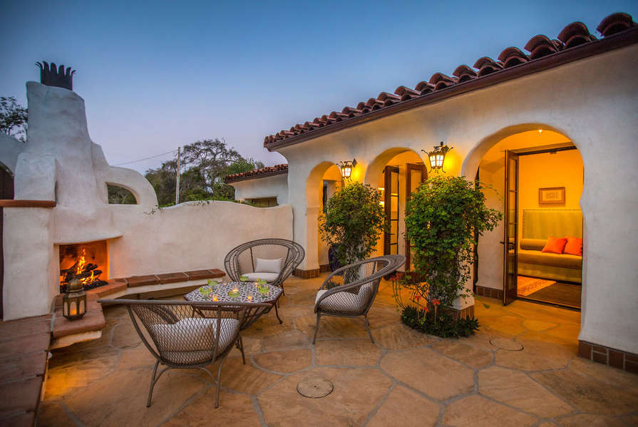 Watch the sunset from the courtyard
