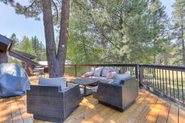 Deck with comfortable seating - golf course views