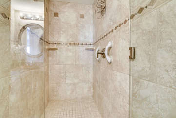 shower in bath #2. Large enough for wheel chair!