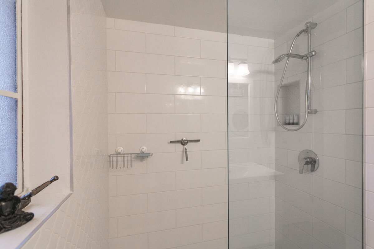 The shower is completely renovated and has plenty of room!