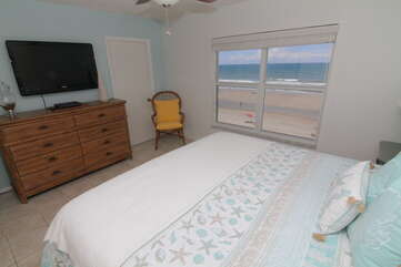 Mounted TV included in the Master Bedroom.