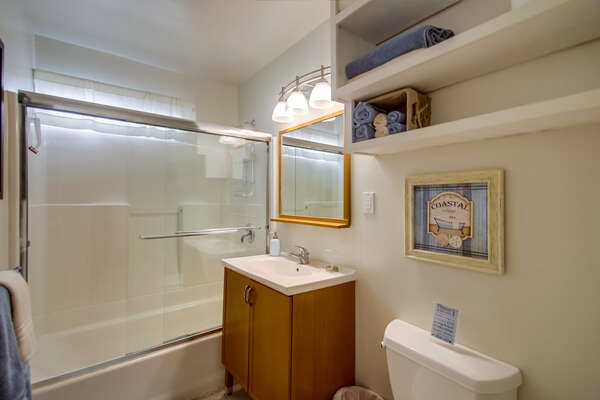 Bathroom one with tub/shower combo