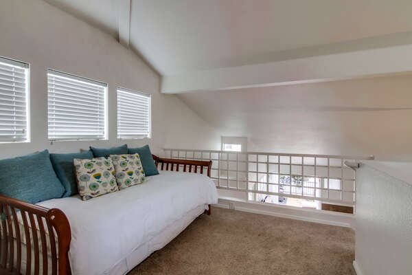 Loft area, Twin bed with Twin trundle