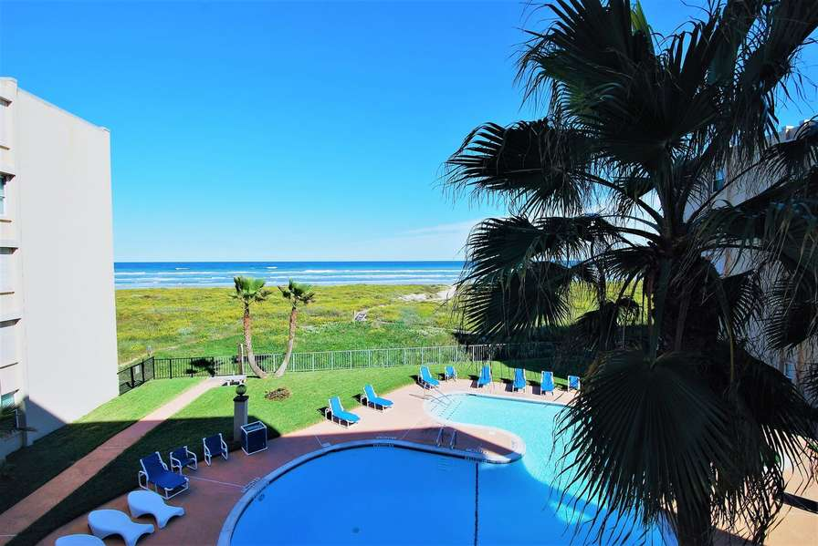View over pool to beach