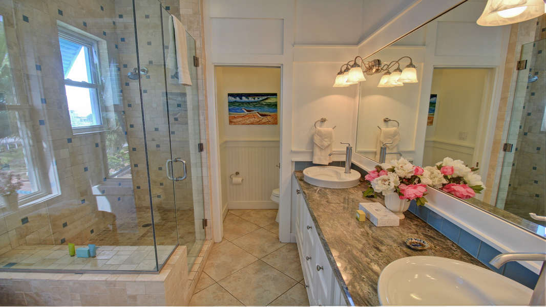 Toilet Room, Shower, Double Sink, Bathtub