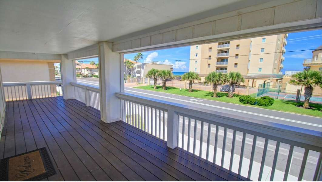 Large Balcony with partial ocean view