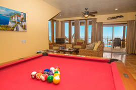 gaming level living and pool area