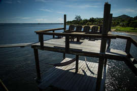 chill zone on the dock covered area with hammocks and sunset sun deck