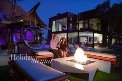One of the 3 different fire pits at the Villa. Unobstructed city views